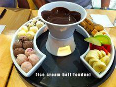 Mini ice cream scoops for choc fondue!