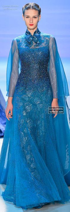 Monet's Midnight Stroll by Georges Hobeika FW 2014-15 Couture. Love this color...the bow, not so kuch