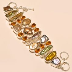 BIWA PEARL WITH FACETED CITRINE TOPAZ WONDERFUL - 925 SILVER BRACELET  #Handmade