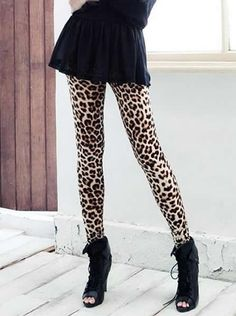 Leopard Printing All-match Elastic Women Blends Leggings One Size @YIF11584l