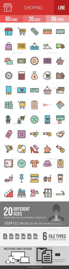 EPS AI Shopping Filled Line Icons Template • Only available here ➝ http://graphicriver.net/item/shopping-filled-line-icons/16433125?ref=pxcr