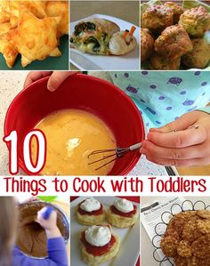 Easy Things to Cook With Toddlers These 10 simple recipes make great first cooking experiences for toddlers and preschoolers.These 10 simple recipes make great first cooking experiences for toddlers and preschoolers. Toddler Meals, Kids Meals, Easy Meals, Toddler Recipes, Toddler Food, Toddler Preschool, E Cooking, Cooking Recipes, Cooking Turkey
