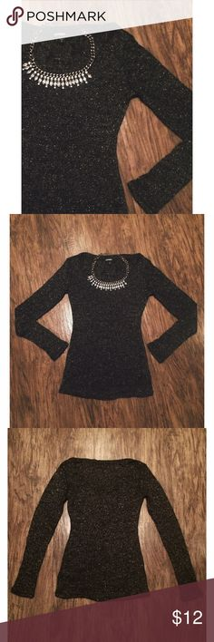 """Black metallic long sleeve top 