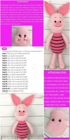 Amigurumi related to each other, we& adding a new one to our great shares. Amigurumi piglet free crochet pattern is waiting for you in this article. Disney Crochet Patterns, Crochet Disney, Crochet Amigurumi Free Patterns, Crochet Animal Patterns, Crochet Doll Pattern, Stuffed Animal Patterns, Crochet Dolls, Crochet Baby, Free Crochet