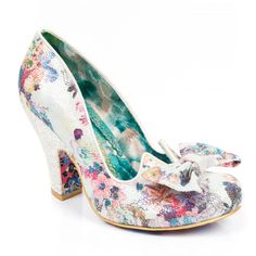 Add a touch of magic to your outfit with Nick of Time! This Dorothy inspired high heel featuring floral uppers and glitter heels will bring a sprinkle of sparkle in to your life. A large bow on the toe provides a perfectly pretty finish to this popular style.  Nick of Time is a beautifully unique shoe, perfect for both brides and bridesmaids.