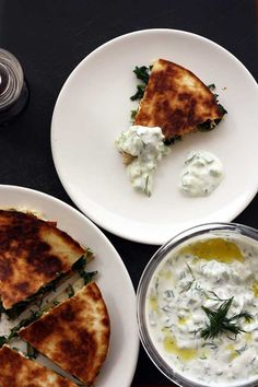 If you've ever tried Greek spanakopita or spinach and feta cheese pie, you'll love these Greek quesadillas. They include traditional spinach and feta pie flavours but are much easier to make. Spinach And Feta, Spinach Pie, Vegetarian Recipes, Cooking Recipes, Mediterranean Recipes, Greek Recipes, Food Inspiration, The Best, Quesadillas