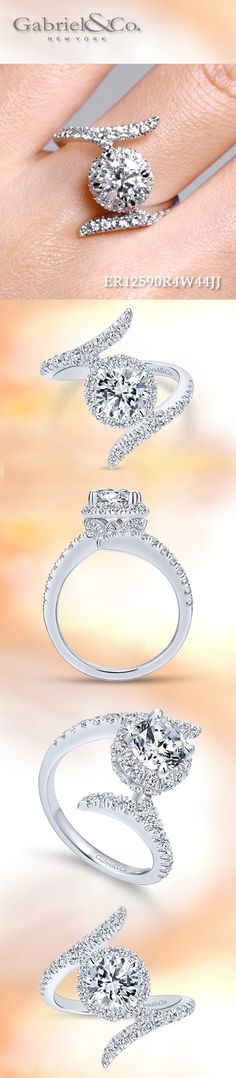 Gabriel & Co.-Voted #1 Most Preferred Fine Jewelry and Bridal Brand. Meet Nebula - 14k White Gold Round Halo Engagement Ring.