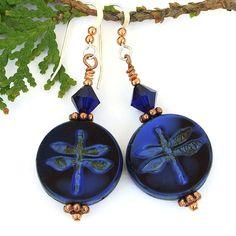 Blue Black Dragonfly Earrings, Handmade Indigo Swarovski Crystal Copper Artisan Jewelry @shadowdog #handmade #dragonfly #earrings
