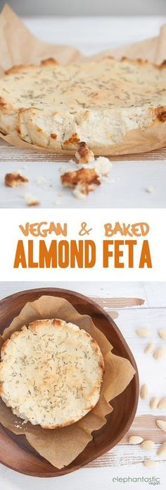 Recipe for a vegan Baked Almond Feta with Rosemary. Made with the leftover almond pulp from making almond milk!