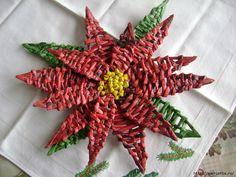 Марриэтта: Плетение из газет. Рождественская ПУАНСЕТТИЯ. Мастер-класс