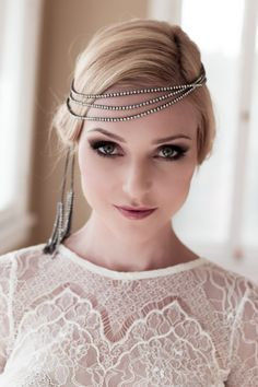Art Deco Bridal Headband with Rhinestones and Dangling Tassels, 1940s Hair Wrap, Crystal Chain Headpiece, Style: Evelyn #1427