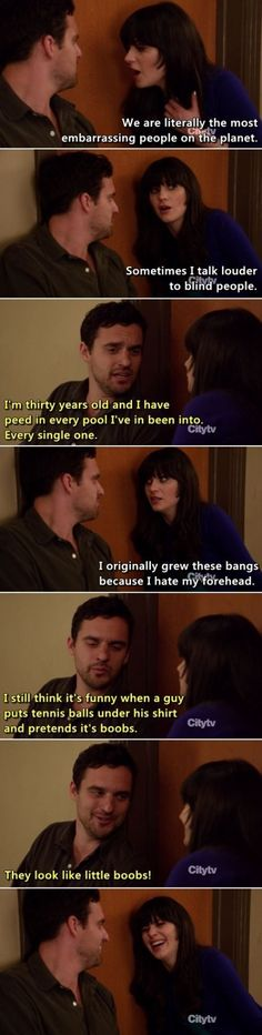 Zooey Deschanel as Jess Day and Jake Johnson as Nick Miller in New Girl. Nick Miller, Beau Film, Tv Quotes, Movie Quotes, Funny Quotes, Girl Quotes, Funny Memes, Charlie Chaplin, I Smile