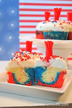 Firecracker Cupcakes - fun red, white, and blue cupcakes