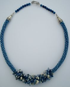 Denim Blue Sodalite Chip Kumihimo Necklace
