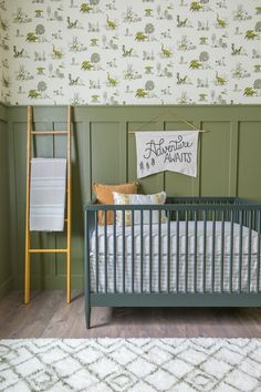 Baby Boy Dinosaur Nursery Baby Boy Dinosaur themed nursery will olive green walls, wood paneling, wallpaper, and leather butterfly chair by Beebout Design. Baby Boy Nursery Themes, Baby Boy Rooms, Baby Boy Nurseries, Baby Decor, Themed Nursery, Baby Room Design, Nursery Design, Boys Room Wallpaper, Print Wallpaper