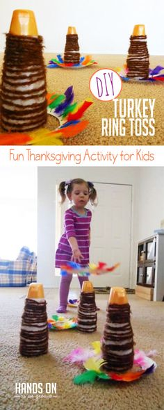 Super Simple Turkey Ring Toss Thanksgiving Activity for Kids Make this DIY turkey ring toss activity for Thanksgiving! It's a fun way to be crafty together before you get active on Turkey Day! via Jamie Reimer Thanksgiving Activities For Kids, Outdoor Activities For Kids, Thanksgiving Parties, Autumn Activities, Thanksgiving Crafts, Thanksgiving Decorations, Toddler Activities, Family Thanksgiving, Stem Activities