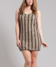 Take a look at this Black & Nude New Year's Eve Mini Dress - Plus by Symphony on #zulily today!
