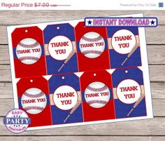 ON SALE Baseball Birthday Party favor tags by EasyPartyPrintables, $2.80