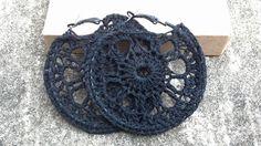 Black Crochet Hoop Earrings by Bess Goden https://www.etsy.com/listing/115176116/black-crochet-hoop-earrings