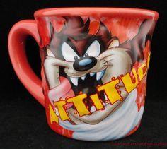 Large TAZ Mug Looney Tunes Attitude Coffee Cup Tasmanian Devil Unused Looney Tunes Cartoons, Tasmanian Devil, Image Fun, Coffee Cups, Coffee Time, Mug Shots, Kitchen Items, Little Houses, Cookie Jars