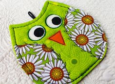 Quilted owl coaster Mug mat owl novelty owl mug by InspiredSpirits