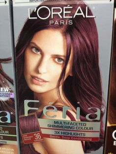 "L'Oreal Feria – 36 Chocolate Cherry (Deep Burgundy Brown) – 1 Each ""Consider… - Modern Chocolate Cherry Hair Color, Cherry Hair Colors, New Hair Colors, Burgendy Hair, Plum Hair, Brown Hair, Pelo Color Borgoña, Colour, Feria Hair Color"
