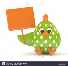 Download this stock image: 3d render of Easter chick holding empty board over white background - HPF57H from Alamy's library of millions of high resolution stock photos, illustrations and vectors.