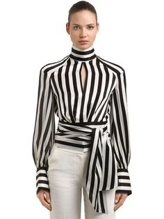 Sewing Blouse Petar Petrov Striped Silk Satin Blouse - High collar with back button closure. Back self-tie closure. All over stripe placement may vary. Blouse Styles, Blouse Designs, Classy Outfits, Chic Outfits, Marine Look, Sewing Blouses, Black And White Blouse, Black White, Ladies Dress Design