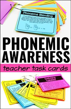 Teach Your Child To Read Tips - Phonemic awareness activities for kindergarten, first grade, and reading intervention! Teacher task cards touch on every phonemic skill! - TEACH YOUR CHILD TO READ and Enable Your Child to Become a Fast and Fluent Reader! Phonics Reading, Teaching Phonics, Phonics Activities, Kindergarten Reading, Teaching Strategies, Teaching Reading, Guided Reading, Reading Intervention Classroom, Close Reading