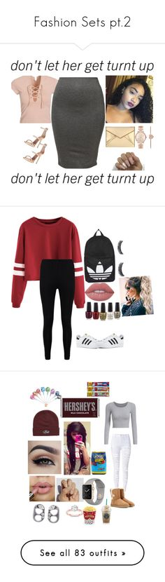 """""""Fashion Sets pt.2"""" by dmartinez140 ❤ liked on Polyvore featuring Boohoo, adidas, Topshop, Lime Crime, UGG Australia, SoGloss, Vans, Marc Jacobs, Hershey's and Hard Candy"""