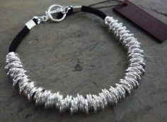 Silver links bracelet  silver leather bracelet by Oyeloria on Etsy, $36.00