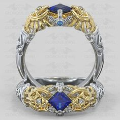 Glorious Custom made Zelda Ocarina Triforce Hyrule Warrior Zora inspired ring with White CZ stone / Silver.925 or Gold 14K made to order