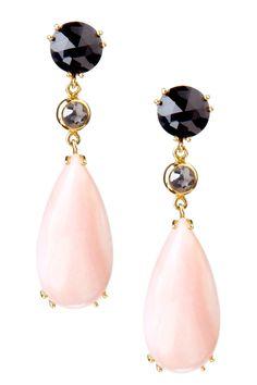 Black Spinel, Natural Rose Cut Diamond & Peruvian Pink Opal Drop Earrings