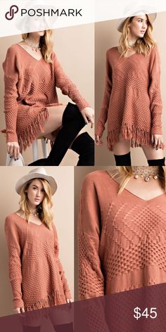 SYNDIE knit sweater with fringe hem - DEEP PEACH OK ladies this is a MUST HAVE!  Cozy up in this adorable knit sweater with a touch of fringe on the hemline.  V neck long sleeve tunic top. NO TRADE, PRICE FIRM Bellanblue Tops Tees - Long Sleeve