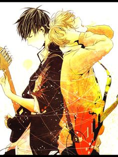 Love this anime pic. Guitars, guys, amazing color, what more do you need?