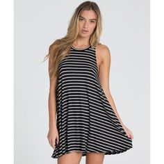 Knock Out Dress ($40) ❤ liked on Polyvore featuring dresses, no sleeve dress, high neckline dress, high-neck dresses, billabong dresses and billabong