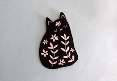 Cat Iron on patch - Woven patch - Floral cat - I like Cats - Black cat - Cat…