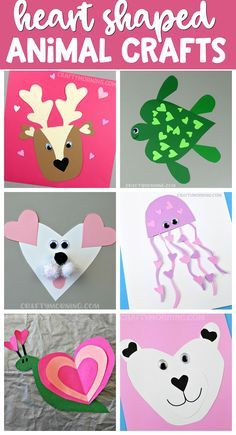 Cutest heart shape animal crafts for Valentine's Day! Kids will love making these easy paper art projects.