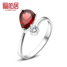 Bliss ranking female silver ring 925 sterling silver rings can open Pinky natural crystal garnet ruby