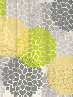 Shower Curtain  Lime Butter Floral  69x70  by SwirledPeasDesigns, $72.00