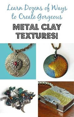 A comprehensive guide to texturing metal clay with household items, leaves, food, purchased and homemade mats, molds and tools. Learn to carve, make tear-away textures, photopolymer plates and more by Margaret Schindel.