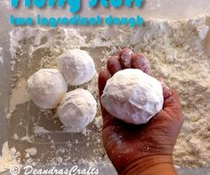 Fluffy Stuff - two ingredient play-dough ... What do you get when you mix shaving cream with corn starch? You get fluffy stuff (a mold-able play-with-me dough). don't know of a cheaper way to entertain a group of children ranging from seven to two for an hour.