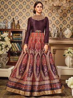 Shop Printed orange brown silk anarkali suit online from G3fashion India. Brand - G3, Product code - G3-WSS00095, Price - 3195, Color - Brown, Fabric - Silk,