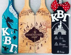 Beautifully hand crafted paddles made for a Disney/ Harry Potter sister