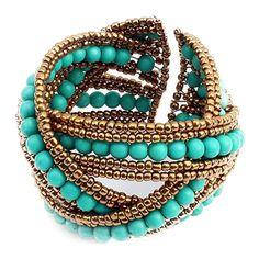 Chicnova Fashion Boho Bead Embellished Wrap-around Bracelet ($4) ❤ liked on Polyvore featuring jewelry, bracelets, boho jewelry, metal bangles, bohemian jewellery, beaded jewelry and bohemian style jewelry