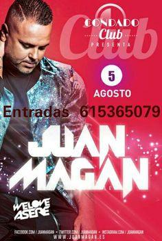 5 DE AGOSTO EN CONDADO CLUB .  Entrada pista 25€ Entrada Attic 35€  Zonas Vip ( 5 entradas +botella+12 refrescos )   250€- VIP ATTIC  400€ - VIP PALCO  800€-VIP ESCENARIO.  INFO , RESERVAS Y ENTRADAS 615365079 o por privado.   #JuanMagan #Amuragardenshow #5deAgosto #Condadoclub #Denia