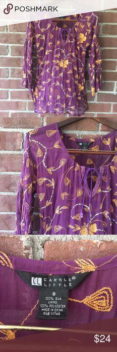 Beautiful Purple/Gold Boho Peasant Shirt! Purple/Gold Boho Peasant Shirt. Excellent condition. Silk and Polyester Carole Little Tops Tunics