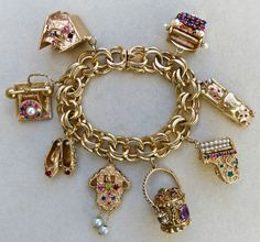 VINTAGE SOLID 14K GOLD EXQUISITE JEWELED CHARM BRACELET~MASSIVE 141.8 GRAMS!