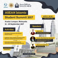 "JS UGM & AFSEC Proudly Present ""ASEAN Islamic Student Summit (AISS)"" Inviting Young Muslim Leaders to Join Our Biggest Event to Unite The Potency of Ummah in ASEAN  Activities: Institution Visit to Malaysia Islamic Center Malaysia Islamic Finance Center Symposium at International Islamic University of Malaysia  Speakers : Muzammil Hasballah and Reputable International Speakers  Apply now Show You are The Next Contributive Muslim Leaders!  aiss.afsec.org 628587880075"