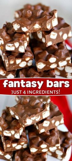 These sensational Fantasy Bars take just 5 minutes and 4 ingredients! Supremely decadent, these easy bars have a fudge like consistency and rich, chocolate flavor. It's the ultimate combination of chocolate, peanut butter, and butterscotch that really tak Köstliche Desserts, Delicious Desserts, Dessert Recipes, Dinner Recipes, 5 Minute Desserts, 5 Minute Snacks, Healthy Desserts, Oreo Dessert, Dessert Bars